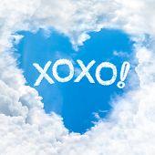 Xoxo Or Kiss And Hug Word On Blue Sky