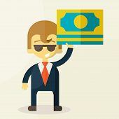 Money and man vector illustration