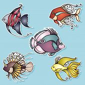 Vector Set of Stickers with Ornate Fishes