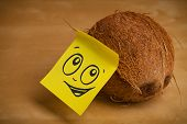 Drawn smiley face on a post-it note sticked on a coconut