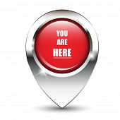 You are here message on glossy map pin, against white background with shadow. EPS10 vector format