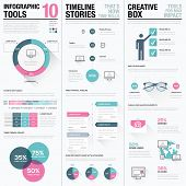 Flat long shadow pink and blue creative infographic vector set