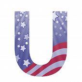 American Flag Letter U