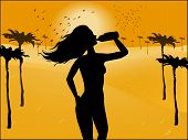 Silhouette Of A Woman Drinking Water On The Background Of The Desert
