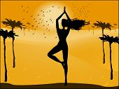 Silhouette Of A Woman In Yoga Pose On The Background Of The Desert