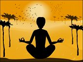 Silhouette Of Man In Yoga Pose On The Background Of The Deser