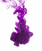 picture of pigment  - Studio shot of purple ink in water - JPG
