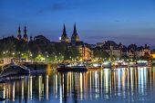 stock photo of moselle  - Koblenz skyline reflecting in river Moselle Rhineland - JPG