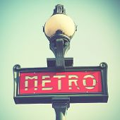Paris metro sign. Instagram style filtred image