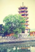 Pagoda in Shanghai, China. Instagram style filtred image