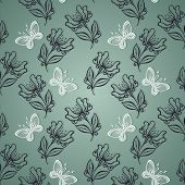Seamless Ornate Floral Pattern with Butterflies