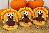 pic of thanksgiving  - Homemade Thanksgiving turkey shaped cookies on burlap with pumpkins - JPG