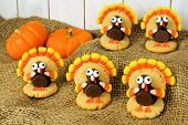 Thanksgiving turkey shaped cookies