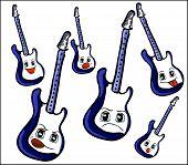 Guitar With Cartoon Face. Set