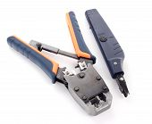 image of cat5  - Crimping tool for twisted pair on a white background isolated - JPG