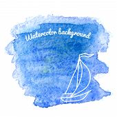 Watercolor Background With Sailboat