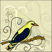 Background With Painted Oriole Sitting On A Branch