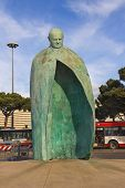 Statue Of Pope John Paul Ii In A Park Near The Termini  Station In Rome, Italy