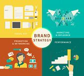 Infographic illustration of Brand strategy - four items
