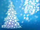 Blue Background With Christmas Tree. Defocus New Year Card