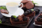 Chocolate ganache tart with blackberries