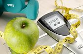 Healthy Apple And Sport And Fitness Message