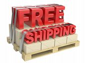 3D Free Shipping Text And Cardboard Boxes On Pallet
