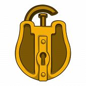 Antique Golden Lock Isolated On A White Background. Color Line Art. Retro Design. Vector Illustratio