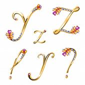 foto of punctuation marks  - Vector volume shiny bronze alphabet with floral details from diamonds and gems letters ZY and punctuation marks - JPG