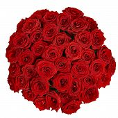 Bouquet Of Beautiful Red Roses On A White Background With Clipping Path