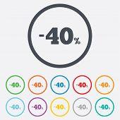 40 percent discount sign icon. Sale symbol.