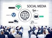 Diverse Business People in a Conference About Social Media