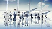 pic of cabin crew  - Multiethnic Group of Business People with Airplane  - JPG
