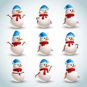 stock photo of sad christmas  - Winter christmas snowman emotions icons set isolated vector illustration - JPG