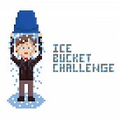pixel art drawn businessman in dark brown suit doing Ice Bucket Challenge.