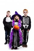 One little girl and two boys dressed the Halloween costumes: witch, skeleton, vampire