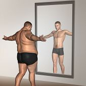 Concept or conceptual 3D fat overweight vs slim fit with muscles young man on diet reflecting in a m