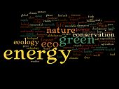 High resolution concept or conceptual abstract green energy and ecology and conservation word cloud text on black background