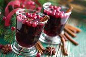 Mulled wine with cranberries and cinnamon