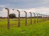Barbwire fence in concentration camp