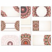 Set of ornamental business cards.