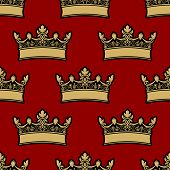 image of queen crown  - Heraldic crown seamless background pattern with a repeat motif of a gold crown on a red background - JPG