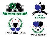 Four Table Tennis emblems or badges