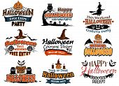 Colorful set of Happy Halloween designs