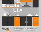Постер, плакат: Kitchen interior flat design