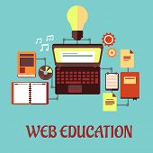Web education flat concept