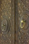 big old wooden door with Armenian ornaments