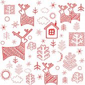 Winter wallpaper with red print. Raster copy