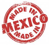 Made in Mexico words in a red round stamp on products, goods or services crafted or produced in the central American nation