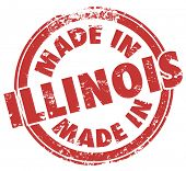 stock photo of illinois  - Made in Illinois Words words in red round stamp - JPG